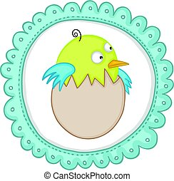 Cute baby bird in egg sticker label - Scalable vectorial...