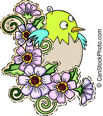 Cute baby bird with flowers - Scalable vectorial image...