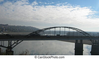 View on bridge in Ufa, Russia - timelapse