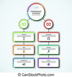 Infographic flow chart template with 2 option circles and 6...