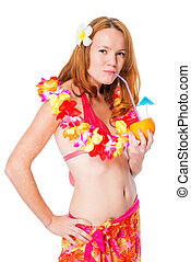 Woman with orange in floral lei on white background