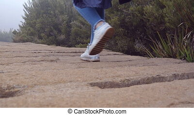 Young female tourist with backpack walking on stone bridge...