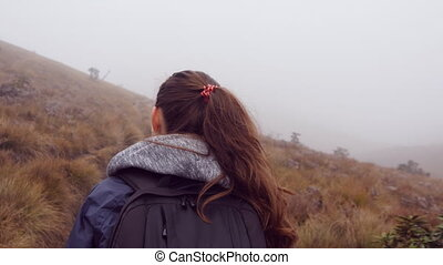 Hiking woman in raincoat with backpack walking in mountain...
