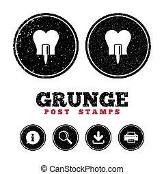 Tooth implant sign icon. Dental care symbol. - Grunge post...