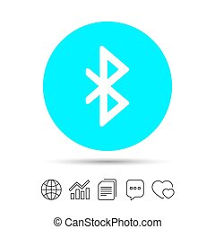 Bluetooth sign icon. Mobile network symbol. Data transfer....