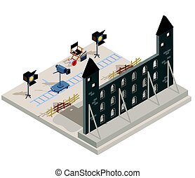 Vector isometric illustration of a film set with a set of...