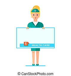 nurse with poster