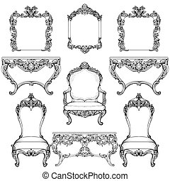 Rich Baroque Rococo furniture and frames set. French Luxury...