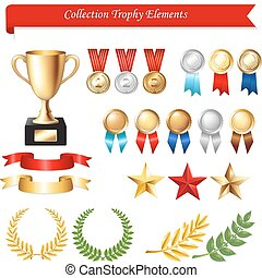 Collection Trophy Elements, Isolated On White Background,...