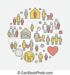 Parents and family round colorful illustraton - vector...