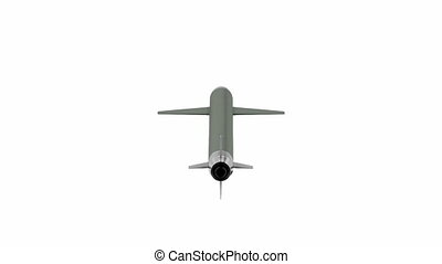 Cruise missile, spins on white background