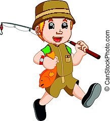 Cartoon Boy fishing - illustration of Cartoon Boy fishing