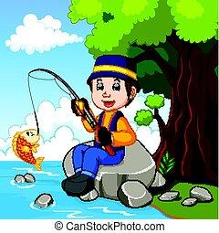 Cartoon Boy fishing - illustration of Cartoon Boy fishing
