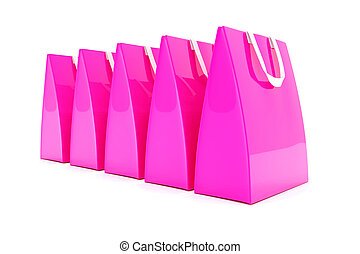 3d render - pink shopping bags - 3d render - Five pink...