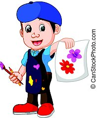 cute boy painting with paintbrush