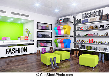 3d render - interior of fashion store with shoes, bags and...