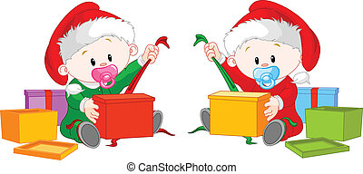 Christmas twins open gift - Cute twins with Santau2019s hat...