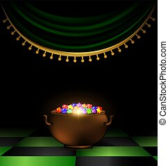 pot of gems in the dark - abstract dark room awith red drape...