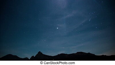 Night sky with stars over the Mountain range