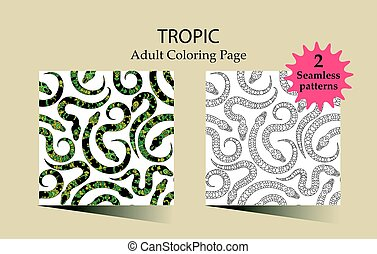 Seamless vector pattern with snakes. - Seamless vector...