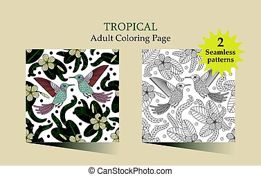 Tropic vector illustration. - Vector seamless pattern with...