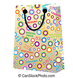 Shopping bag with sales announcement
