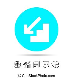 Downstairs icon. Down arrow sign. Copy files, chat speech...