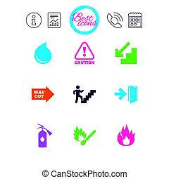 Fire safety, emergency icons. Extinguisher sign. -...