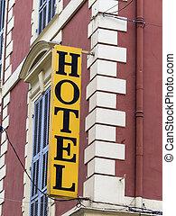 hotel, shield, facade - hotel icon photo for hospitality,...