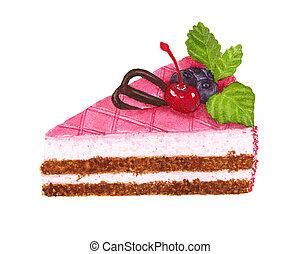décor, cerise, chocolat, aquarelle, gâteau, myrtilles, morceau, menthe