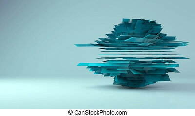 Abstract futuristic rotation geometric transformation motion...
