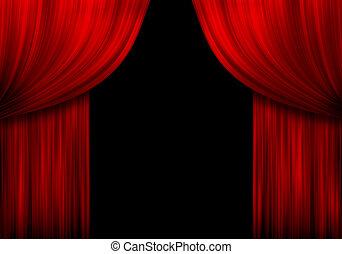 rojo, cortinas