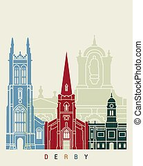 Derby skyline poster - iDerby in editable vector file