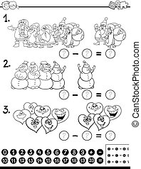 subtraction activity coloring page - Black and White Cartoon...