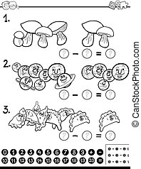 subtraction maths activity coloring page - Black and White...