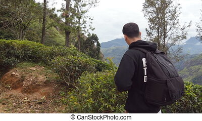 Young man tourist with backpack walking at trail in mountains with beautiful nature landscape at background. Male hiker going along tropical mount road. Healthy active lifestyle. Travel concept