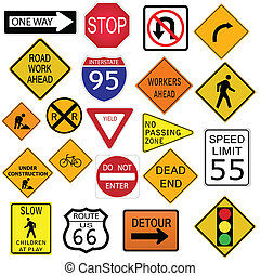 Road Signs - Image of various road signs.