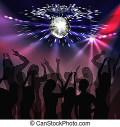 Disco party dancefloor - Vector silver mirror ball with...