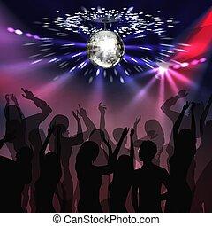 Disco party dancefloor - Vector silver mirror ball with...