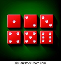 Set of red dice - Vector set of red casino dice top view...