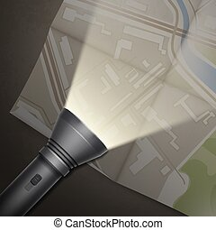 Turned on flashlight - Vector map with pocket turned on...