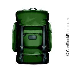 Big travel backpack - Vector big green travel backpack front...