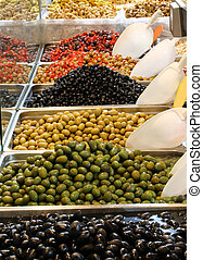 many olives for sale in the mediterranean market - Lots of...