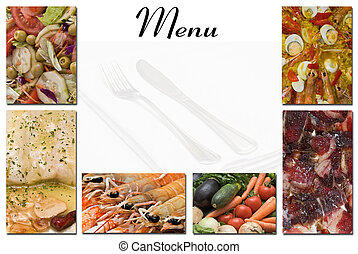 Menu for restaurants 28. - A menu card with a copy space for...
