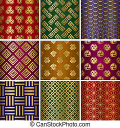 Japanese traditional patterns set. Illustration vector.