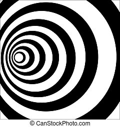 A black and white tunnel. Optical illusion