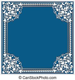 Illustration square cutout paper frame with lace corner...