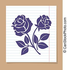 Rose skech on line paper page