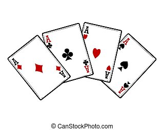 Four aces isolated on white background