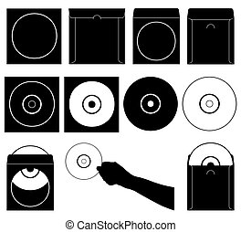 Set of different compact discs and cases isolated on white